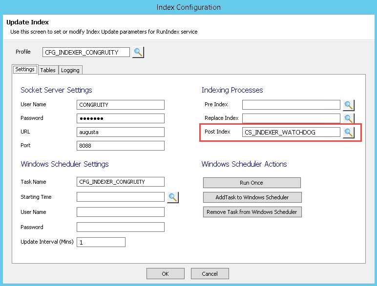 OpenInsight Indexer Configuration with Watchdog Timer